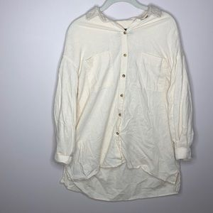 URBAN OUTFITTERS LIGHT YELLOW SHEER BUTTON DOWN